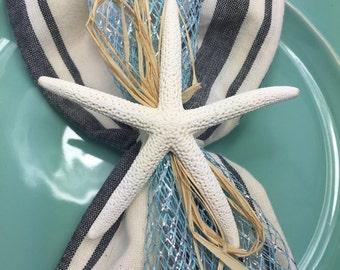 White Starfish Napkin Ring with Baby Blue Mesh Ribbon - Beach Wedding - seashore - shells