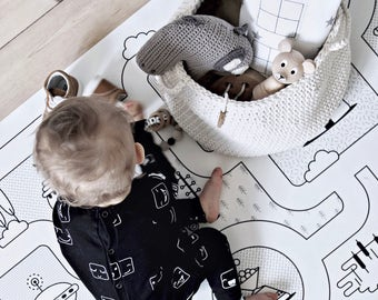 Monochrome Nursery / Game Road Map City Rug Kids City Area Rug Kids Play Rug / PVC Rug / Kids Decor / Kids Non Slip Mat / Toddler Room