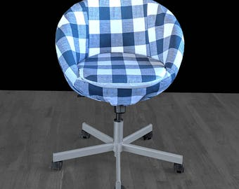 Navy Blue Buffalo Check Plaid Gingham IKEA SKRUVSTA Chair Slip Cover
