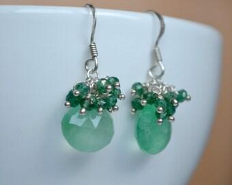 Green aventurine earrings,  green drop earrings, sterling silver jewelry, green cluster earrings, Valentine's day gift