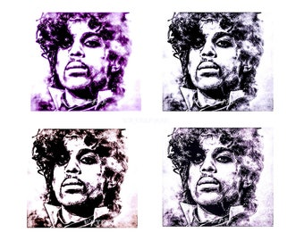 Prince pop art portrait A4 print same picture 4 effects original digital art to download and print