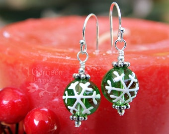 Green Snowflake Earrings -painted green glass & white snowflakes, sterling silver hooks - free shipping USA - also avail in 14k gold fill