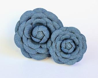 READY to SHIP cotton flower brooch, denim fabric camellia brooch, denim pin, jeans flower, denim wedding, denim cotton jewellery