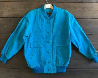 Vintage 90s Blue Suede Leather Jacket