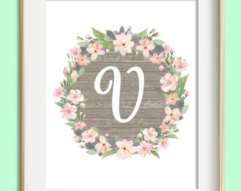 Letter b printable instant download baby girl nursery wall letter v printable instant download baby girl nursery wall art girl nursery decor altavistaventures Images