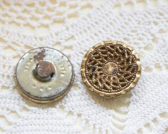 """2 Antique Victorian Pierced Metal Shank Buttons 1 1/8"""""""