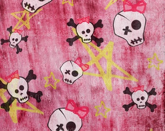 DIGITAL DOWNLOAD: Backdrop, Background, Girly Pink Skulls with Bows & Stars, Punk Rock, 80's, Pirate, Party Cake Smash, Instant, Photography