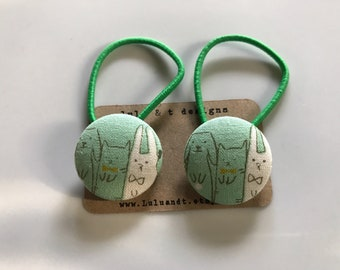 cat and bunny hair ties, cat and bunny fabric covered button hair tie pair