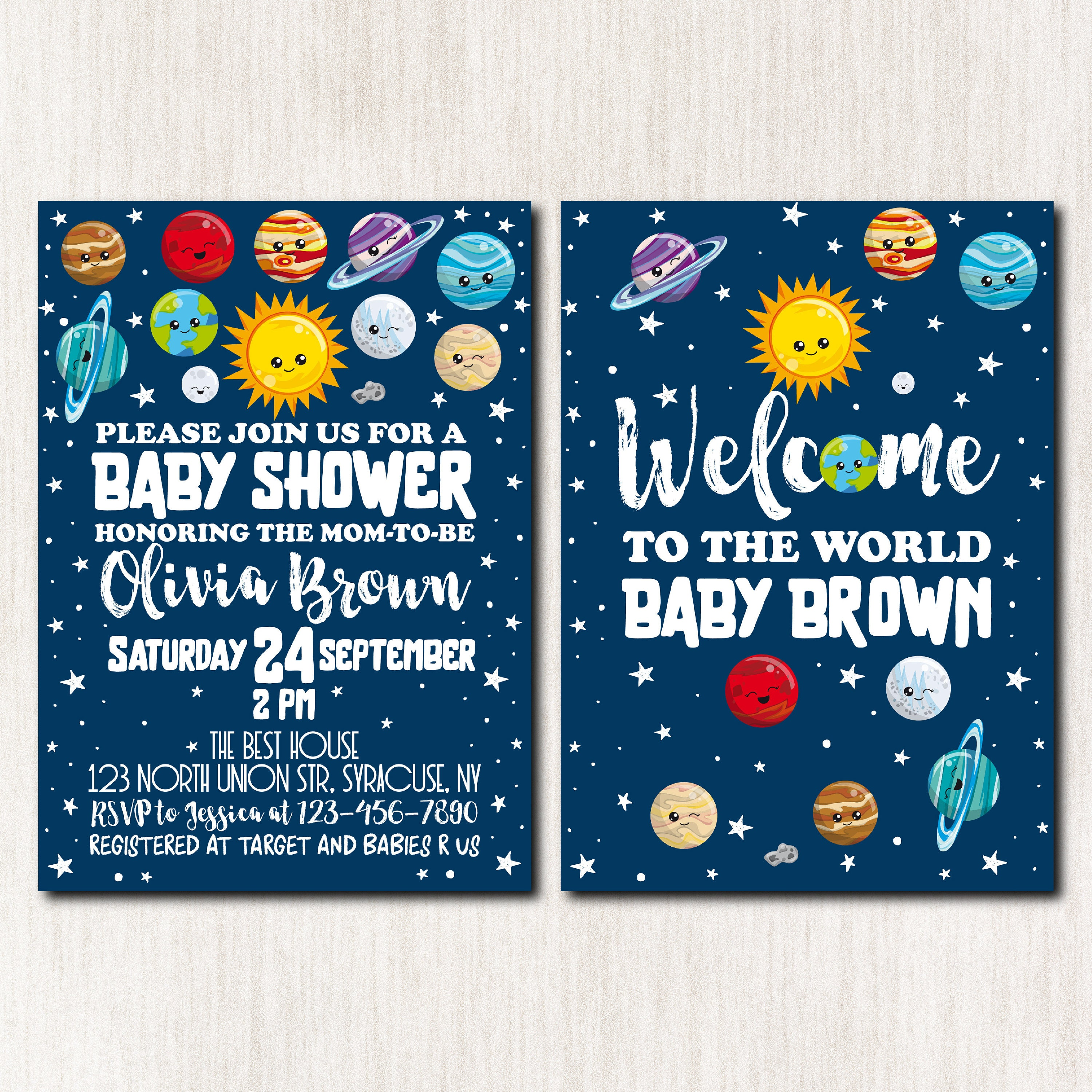 Space Baby Shower Invitation Outer Space Invitation Moon