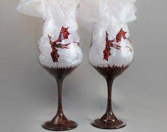 Dragon Wine Glasses, Dragon Goblets, Red Black Dragon Glasses, Hand Painted Dragons, Dragon Stemware, Fantasy Wine Glasses, Flying Dragons