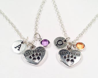 Best Friends Necklaces, Set of 2, Friendship Necklace, Gift for Friend, Best friend heart charm gift, Couple Gift, friend paw print gift,