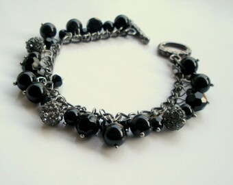 Swarovski Charm Bracelet, Swarovski Elements Bracelet, Black Pearl Bracelet, Pearl Charm Bracelet, Gift for Her