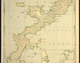 Vintage Map Okinawa Southeast Asia Japan WWII