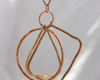 Fabulous Free form Hand Hammered Copper and Brass Pendant on Vintage Copper and Brass Chain