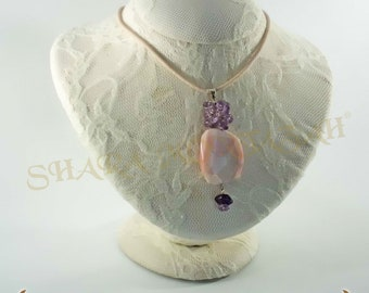 Shara-Pendant in opal and amethyst, with silk cord. Handmade. Exclusive.