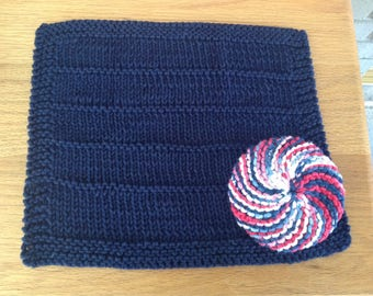 Washcloth and Scrubbie set,  Spa cloth, Dishcloth set, Navy, red and white set, Hand knit