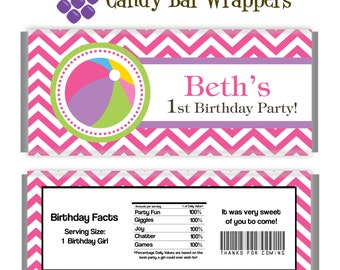 Pool Party Candy Wrapper - Pink Chevron, Beach Ball Girl Pool Party Personalized Party Favor Candy Bar Wraps - A Digital Printable File