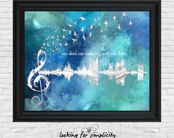 New Waveform (Voice Print Sound Wave) Art!   You Alone Can Make my Song Take Fight (Music of the Night) Phantom of the Opera Inspired Quote