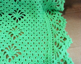 Mint green crocheted baby afghan