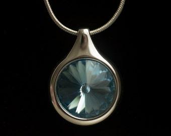 Sapphire Swarovski Crystal Silver Necklace