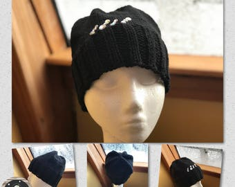 Hand Knit Hand Crafted Ladies Fashion Winter Hat Black with Crystal Jewels Soft and Warm