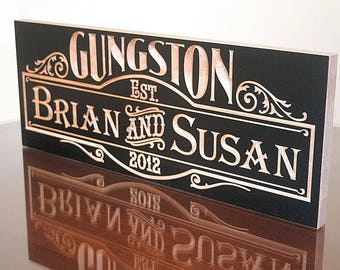 Couples Name Sign, Anniversary Gift For Him, Carved Wooden Sign, Personalized Sign, Parents Anniversary, Benchmark Custom Signs, Maple SB