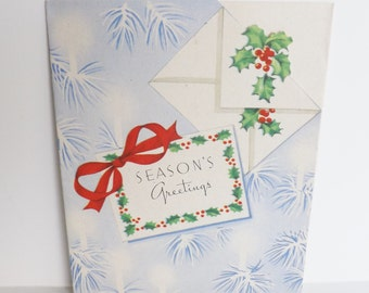 Vintage 1940s 1940's Season's Greetings Christmas card with holly and pine branches die cut