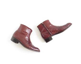Oxblood Ankle Boot 90s Mens Boots Beatle Boot Cuban Boot Burgundy Leather Boot Maroon Boot Size Mens US 9, EU 42, Uk 8.5, Womens US 11, Uk 9