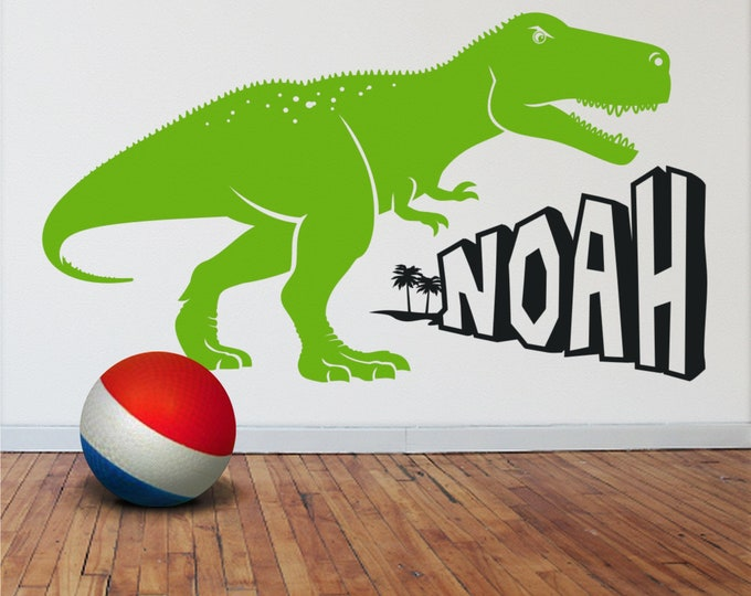 dinosaur wall decal, t-rex sticker, tyrannosaurus rex wall decal, gift for boys, dinosaur wall decor, boys room, girls room