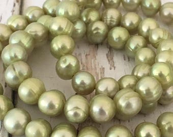 """Peridot Green Freshwater Pearl Potato Beads, 16"""" strand  , 5mm"""