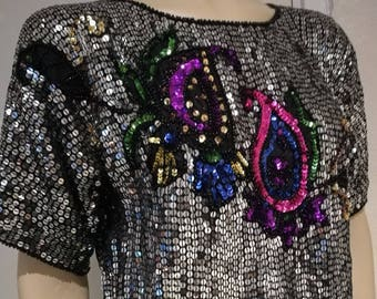 Studio 54 top Vintage 70s 80s silver Sequin Disco Top,