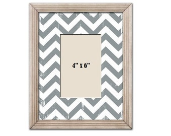 Shabby Chic White & Gray Wood Picture Frames
