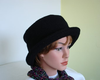 Hat / Cloche of Boiled Wool -black- Womans Hat Formal Hat- Wool Hat - black Hat - 20 colors / every size