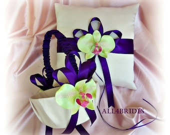 Purple and green orchids weddings ring pillow and basket, ring cushion and flower girl basket set.