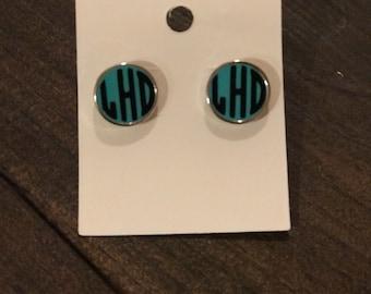 Monogrammed post stud earrings