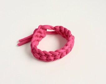 Pink T-shirt yarn bracelet - Bright pink crochet bracelet - Gift for her - stocking filler - Pink bracelet - Pink jewellery