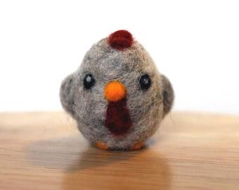 Needle Felted Gray Chicken Hen - Bird Figurine - Made to Order - Felt Chicken Cute Hen - Felted Farm Animals - Felted Chickens