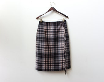 Plaid Pencil Fringe Wrap Skirt
