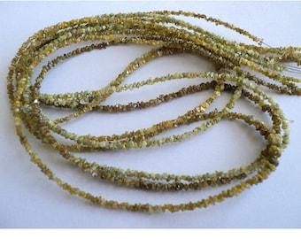 WHOLESALE 5 Strands, Yellow Rough Diamonds - Natural Raw Uncut Diamond Beads - 2mm - 16 Inch Strand
