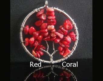 Tree of Life Pendant 17 Silver Wire Wrapped Tree of Life Necklace Pendant with Genuine Red Coral. Gorgeous Tree of Life Necklace TOLN017