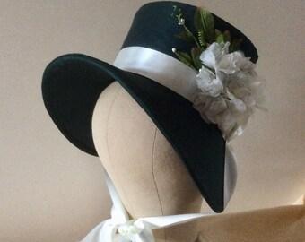 Regency Poke Bonnet. Jane Austen. Bottle Green + Ivory.