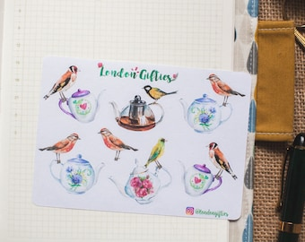 Afternoon tea with wild birds - decorative watercolour planner stickers suitable for any planner -451-
