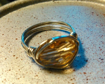 Sterling silver citrine wire wrapped ring.