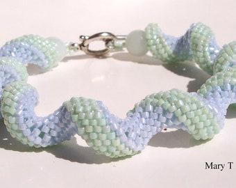 Pastel Sprial Beadwoven Bracelet...EBW Team...Blue, Green