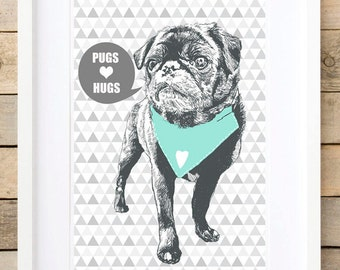 Pug gifts Dog Mom gift prints wall art Pugs illustration pet portrait wall decor Fur mama gift idea Mint nursery decor gift for daughter