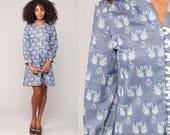Bird Dress Mini SWAN PRINT 70s Mod Shift Button Up 60s Twiggy Hippie Boho Novelty Vintage Bohemian Blue Long Sleeve Minidress Large