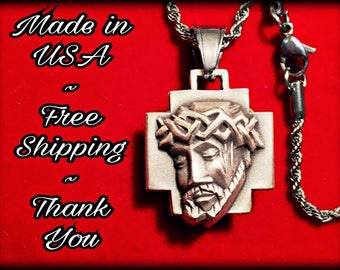 Jesus Piece Pendant Set with Stainless Steel Rope Chain Necklace - New - Handmade - Free Shipping