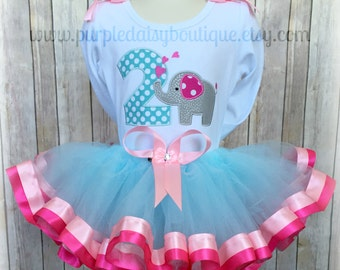 Sweet Girly Elephant Birthday Outfit Complete with Double Ribbon Trim Tutu, Personalized Shirt, and Matching Hair Bow