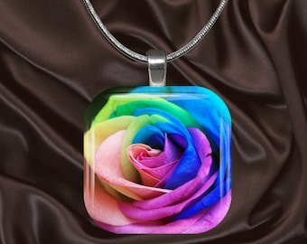 Rainbow Rose Glass Tile Pendant with your choice of chain included(Rainbow2.2)
