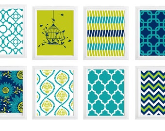 Choose any 6 Modern home decor wall art- Turquoise Chartreuse Navy blue and white